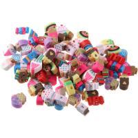Polymer Ton Perlen , DIY, gemischte Farben, 7-10mmx5mm, 100PCs/Tasche, verkauft von Tasche