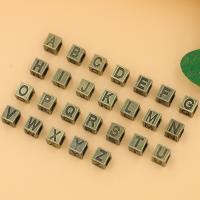 Zink Legierung Alphabet Perlen, Zinklegierung, Quadrat, plattiert, DIY & mit Brief Muster, keine, frei von Nickel, Blei & Kadmium, 7x7x7mm, 50PCs/Tasche, verkauft von Tasche