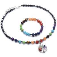Edelstein Schmucksets, Armband & Halskette, Zinklegierung, mit Naturstein, keine, verkauft von PC