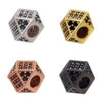 Messing Großes Loch Perlen, plattiert, DIY & Micro pave Zirkonia, keine, 7x7mm, Bohrung:ca. 3mm, 10PCs/Menge, verkauft von Menge