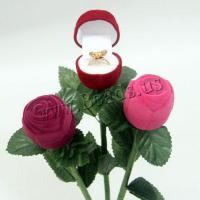 Baumwollsamt Ringkasten, Beflockung Stoff, mit Kunststoff, Rose, keine, 38.80x38.80x260.50mm, 10PCs/Menge, verkauft von Menge