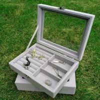 Multifunktionale Schmuck-Box, Baumwollsamt, DIY & verschiedene Stile für Wahl, keine, frei von Nickel, Blei & Kadmium, 205x150x45mm, verkauft von PC