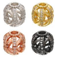Befestigte Zirkonia Perlen, Messing, plattiert, DIY & Micro pave Zirkonia & hohl, keine, 13x12mm, Bohrung:ca. 4mm, 10PCs/Menge, verkauft von Menge