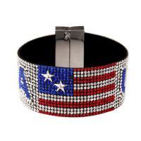 Strass Armband, mit Stoff, Handy USA Flagge Muster & unisex, gemischte Farben, 190x35mm, verkauft per ca. 7.48 ZollInch Strang