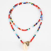 Pullover Kette Halskette, Seedbead, mit Muschel, goldfarben plattiert, Bohemian-Stil & für Frau, keine, 600mm, verkauft per ca. 23.62 ZollInch Strang