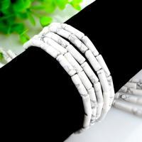 Türkis Perlen, Natürlicher weißer Türkis, Zylinder, poliert, DIY, weiß, 4x13mm, Länge:ca. 15.4 ZollInch, 2SträngeStrang/Tasche, ca. 29PCs/Strang, verkauft von Tasche