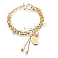 Edelstahl Armband, mit Kunststoff Perlen, goldfarben plattiert, für Frau, metallische Farbe plattiert, 20mm,10mm,7mm, verkauft per ca. 7.8 ZollInch Strang