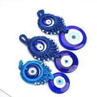 Evil Eye Anhänger, Lampwork, mit Emaille, Auge, gewebte Muster, keine, 177mm, 10PC/Menge, verkauft von Menge