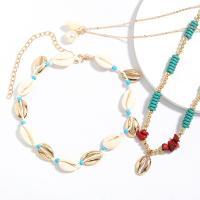 Zinklegierung Schmucksets, Halskette, mit Muschel, plattiert, für Frau, frei von Nickel, Blei & Kadmium, verkauft von setzen