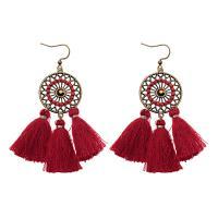 Mode-Fringe-Ohrringe, Zinklegierung, mit Baumwollfaden, Folk-Stil & gewebte Muster & für Frau & hohl, keine, 75mm, verkauft von Paar
