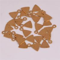 Messing Schmuck Anhänger, Dreieck, DIY, originale Farbe, frei von Nickel, Blei & Kadmium, 8.50x6x0.40mm, Bohrung:ca. 1mm, ca. 300PCs/Tasche, verkauft von Tasche