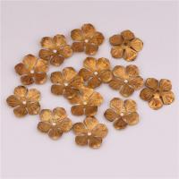 Messing Perlenkappe, Blume, DIY, originale Farbe, frei von Nickel, Blei & Kadmium, 14.30x0.40mm, Bohrung:ca. 1.2mm, 500PCs/Tasche, verkauft von Tasche