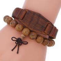 Herren-Armband & Bangle, Kunstleder, Armband, mit Eisen, plattiert, für den Menschen, Länge:8.3 ZollInch, verkauft von setzen