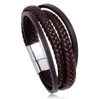 Herren-Armband & Bangle, PU Leder, mit Zinklegierung, plattiert, für den Menschen, keine, verkauft per 8.1 ZollInch Strang