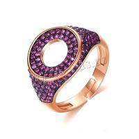Messing Open -Finger-Ring, plattiert, Micro pave Zirkonia & für Frau, keine, 13mm, 5PCs/Menge, verkauft von Menge