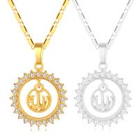 Messing Halskette, plattiert, für Frau & mit Strass, keine, frei von Nickel, Blei & Kadmium, 500x33x23mm, verkauft von PC