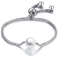 Titan Edelstahl Armband, Titanstahl, mit Glasperlen, rund, einstellbar & Kastenkette & für Frau, originale Farbe, 10mm, Länge:ca. 7.5 ZollInch, 2SträngeStrang/Tasche, verkauft von Tasche