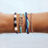 Mode Wachsschnur Armbänder, mit Kunststoff Perlen & Zinklegierung, gemischte Farben, verkauft von setzen