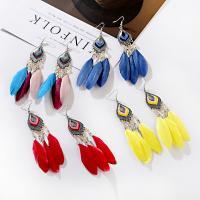 Mode-Feder-Ohrring, Zinklegierung, Federn, keine, 12.5cm, verkauft von PC