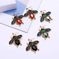 Zinklegierung Ohrringe, Insekt, goldfarben plattiert, für Frau & mit Strass, keine, frei von Nickel, Blei & Kadmium, 38x35mm, verkauft von Paar