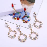 Zinklegierung Ohrringe, mit Harz, goldfarben plattiert, für Frau & mit Strass, keine, frei von Nickel, Blei & Kadmium, 70x36mm, verkauft von Paar