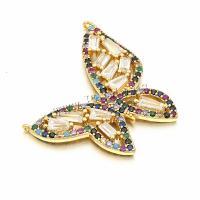 Befestigter Zirkonia Messing Anhänger, Schmetterling, goldfarben plattiert, Micro pave Zirkonia, metallische Farbe plattiert, 31x31mm, Bohrung:ca. 0.5mm, 10PCs/Menge, verkauft von Menge