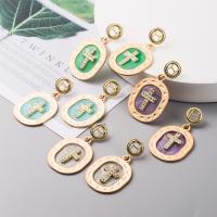 Zinklegierung Ohrringe, mit Bernstein, goldfarben plattiert, für Frau & Emaille & mit Strass, keine, 38x50mm, verkauft von Paar