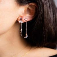asymmetrische Ohrringe, Zinklegierung, plattiert, mit Strass, frei von Nickel, Blei & Kadmium, verkauft von Paar